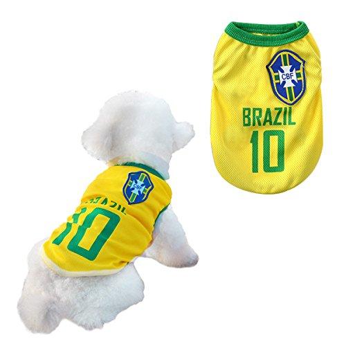SymbolLife Hunde Trikot Fußball Jersey T-Shirt für Hunde Katzen Kostüme Haustier Weltmeisterschaft Weihnachtsmannkostüm Kleidung Haustierhundekleidung Brasilien (XXXL, Gelb)
