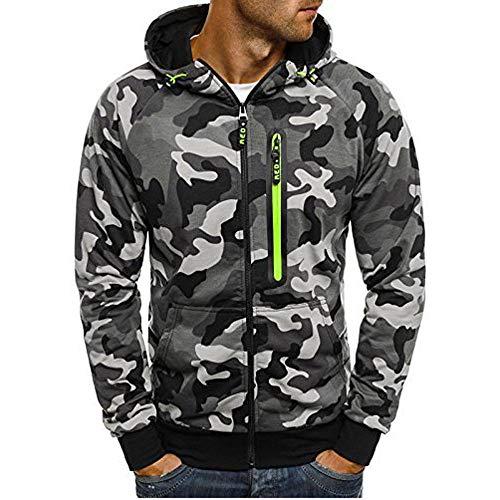 MEIbax Herren Camouflage Zipper Pullover Langarm mit Kapuze Sweatshirt Hoodie Kapuzenjacke Sweatjacke Mäntel Shirt Tops Bluse Cropped Trench Jacke