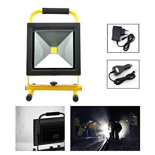 HG® 30W Kaltweiß LED Akku Fluter Arbeitsleuchte Baustrahler Handlampe Campinglampe Wiederaufladbare Außenstrahler