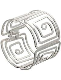 Yazilind Brazalete de acero chapado en plata brazalete pulsera brazalete Diámetro: 2.2 pulgadas Ancho: 1.9in