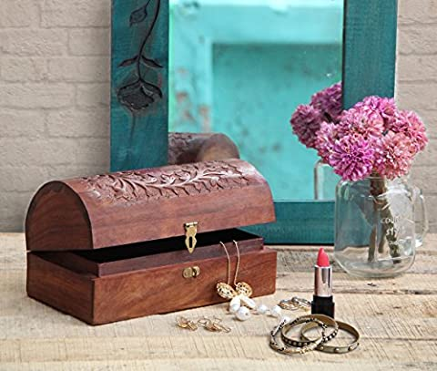 Wooden Keepsake Storage Box Jewellery Trinket Chest Organiser Multipurpose with Intricately Hand Carved Floral Patterns