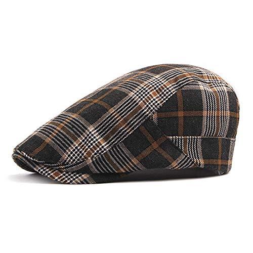 Unisex-Baumwolle verstellbare Flache Kappe Karierten Patch Ivy Duckbill Newsboy Gatsby Irish Cap Hut (Color : 1, Size : Free Size) Irish Patch Cap