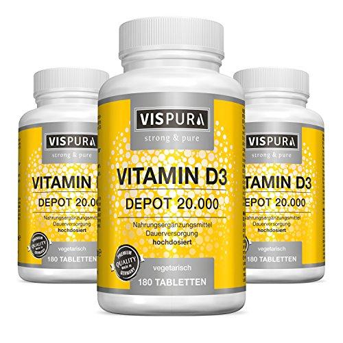 3 Dosen Vitamin D3 hochdosiert 20000 IE pro Tablette (20-Tage Dosis) je 180 vegetarische Tabletten (teilbar) ohne Magnesiumstearat in deutscher Premium-Qualität und 30 Tage kostenlose Rücknahme