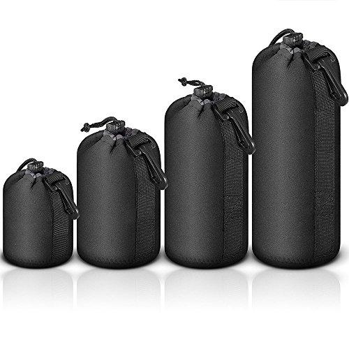 Mekingstudio Bolsa de Objetivo Lente DSLR Cámara de Neopreno 4 Tamaños Protector Negro Suave Lens Pouch Bag para Sony Canon Nikon Olympus Pentax Panasonic, 4 Packs