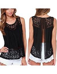 Malloom Mujeres atractivo de encaje sin mangas chaleco crochet verano Camiseta Tank Top Blouse (negro, L)