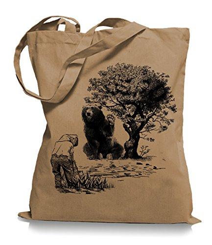 Ma2ca® Please Smile Bear - Jutebeutel Stoffbeutel Tragetasche/Bag WM101-caramell (Kanada-stoff)