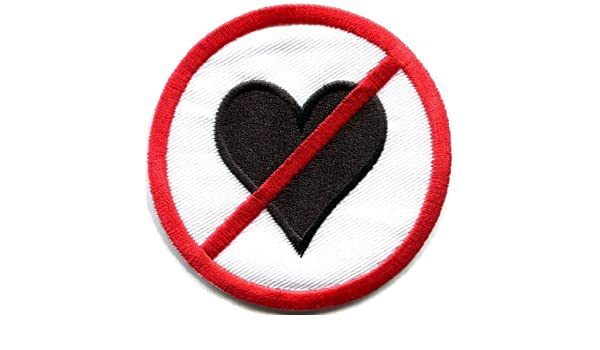 No Love symbol sign warning red heart hate romance applique iron-on patch S-826