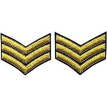 Militar uniforme del ejército de galones sargento rayas bordado armas Fashion decorativo emblema hierro en Sew de hombro parche dorado