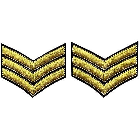 Uniforme Militar Chevrons Sargento Rayas Ej¨¦rcito Embroidered Arms Emblem Hierro En Coser En El Parche De Hombro, Oro, 2