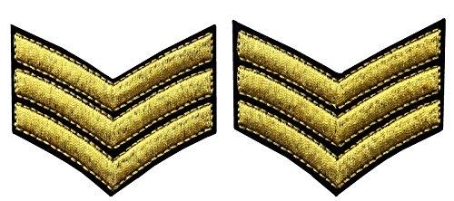 Militär Uniform Chevrons Sergeant Stripes Armee Embroidered Waffen Emblem Eisen auf Nähen auf Schulter Flecken, Gold, 2 (Ihr Machen Mädchen Eigenes Sie Kostüm Für)