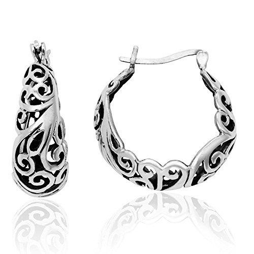 Mimi 925sterling Silver Bali Inspired filigrana mezzaluna, a cerchio di Mimi argento