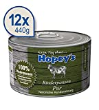Hopey's Hundefutter: Rinderpansen Pur 12x 440g Dosen, getreidefreies Nassfutter für Hunde
