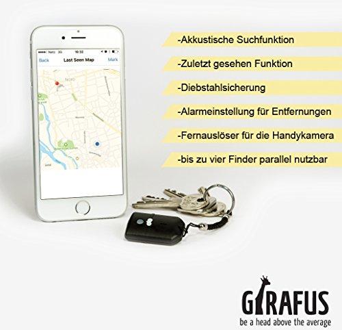Schlüssel, Key, Koffer, Handy-Finder mit App & Karte für iPhone & Android Bluetooth Low Energy Girafus® Smart Key-Finder/Sparen Sie Zeit und Nerven/Alles Finden (Handy Finder Gps)
