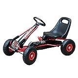 Homcom Vélo et véhicule pour Enfants Kart à pédales siège réglable, Roues gonflables et Frein à Main Acier Plastique Rouge et Noir...