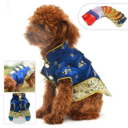 Lovelonglong 2019 Hundekostüme Cheongsam Qipao Kleider für kleine Hunde Katzen Haustiere Tang Dynastie Kostüm, XXL (for small Dog), Blau 2