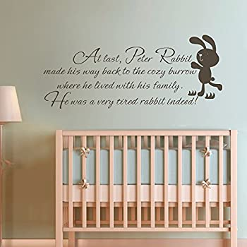 MairGwall Nursery Decal He Was A Very Tired Rabbit Indeed Peter Rabbit  Quote Kids Room Decal Children Wall Mural(Custom, X Large) Part 76