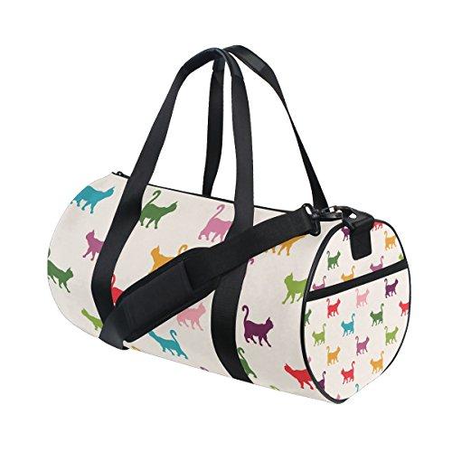TIZORAX Colorful Katzen Kätzchen Fitnessraum Duffle Bag Drum Tote Reisetasche Rooftop Rack Tasche (Bag Kätzchen Tote)