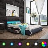 Xingshuoonline Kunstlederbett mit LED-Beleuchtung, 140 cm Matratze, Maße: 219 x 147,5 x 72 cm (Länge x Breite x Höhe)