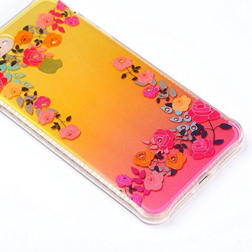 Paillette Coque pour iPhone 7 Plus/iPhone 8 plus,iPhone 7 Plus Coque en Silicone Glitter, iPhone 7 Plus/8 Plus Silicone Coque fleurs de cerisier roses Housse Transparent Etui Gel Slim Case Soft Gel Co Roses