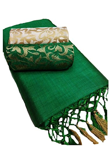 Deepjyoti Creation Women's Kalkatta Cotton Fabric Complete Corner Silk Frill Plain Saree With Brocade Work Dual...