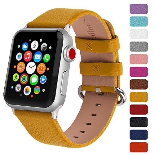 Fullmosa Klassische Litichi Leder Watch Armband Kompatibel für Apple Watch Series 5/4/3/2/1, 12 Farben iWatch Armband geeignet für Männer und Frauen mit Edelstahlschliesse 42mm, Ingwer-Gelb
