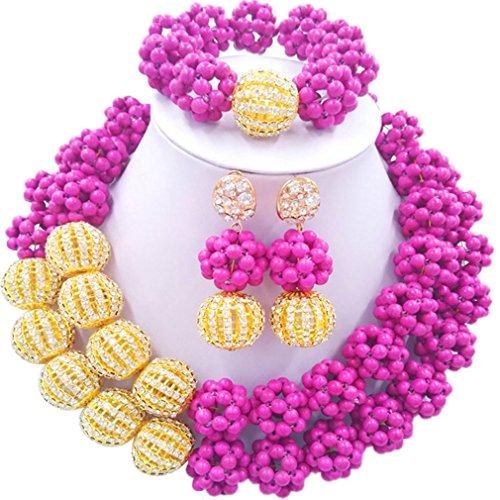 Laanc 2rows Rouge Collier de perles Turquoise et strass Doré du Nigeria africain Bijoux Femme Définit Bright Rose and Rhinestone Gold