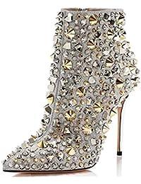 Shiney Botines para Mujer Puntiagudos Remache Street Shoot Modelo Catwalk Boots Tacón Alto Estilete Discoteca De