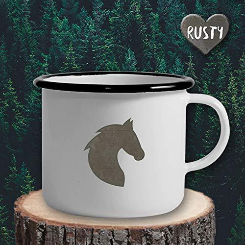 The Manufacture Pferdekopf Pony Tier Emaille Becher Tasse als Geschenk, weiß Outdoor Ausrüstung