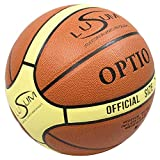 Lusum Optio - Balón de Baloncesto para Interiores y Exteriores (Piel sintética, Tallas 5, 6 y 7), Color Tan/Cream, tamaño 7