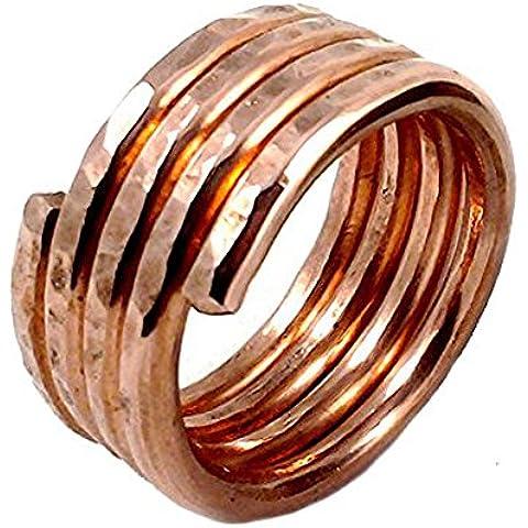 elaments diseño de anillo de cobre macizo apilable Bobina de cuatro Tamaño 10martillado a mano
