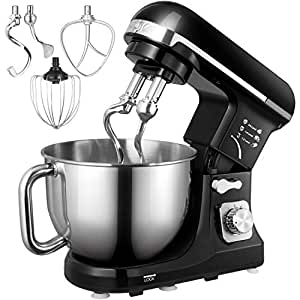 Stand Mixer, Aicok 1000W Dough Blender with Powerful Double Hooks, 6 Speeds Noiseless Less than 80db, 5 Litre Staainless Steel Bowl with Splash Guard (Beater, Double Hooks, Whisk)