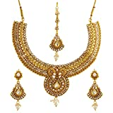 Best Four Piece Necklace - Zeneme Gold Plated Luxury American Diamond and Simulated-Pearl Review
