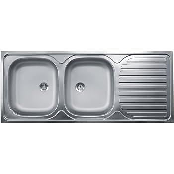 Lavello Cucina Incasso 2 Vasche Gocciolatoio Dx 120 cm Acciaio ...