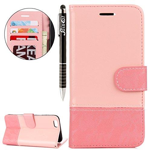iPhone 6 Plus Custodia, iPhone 6S Plus Cover Wallet, SainCat Custodia in Pelle Cover per iPhone 6/6S Plus, Anti-Scratch Protettiva Caso Elegante Creativa Dipinto Pattern Design PU Leather Flip Portafo Oro rosa + rosa