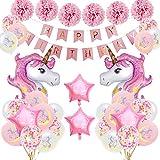 SPECOOL Anniversaire Licorne Décoration Fournitures,Rose Joyeux Anniversaire Bannière Set avec 2 énorme Licorne Balloons Confetti Ballons Birthday Décoration de fête pour Bébé ,Garçon Fille