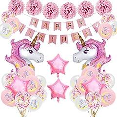 Idea Regalo - SPECOOL Decorazioni per Feste di Unicorno, Rosa Buon Compleanno Banner con 2 Enormi Palloncino di Unicorn Coriandoli in Lattice Forniture per Feste di Compleanno per Bambini Adolescente