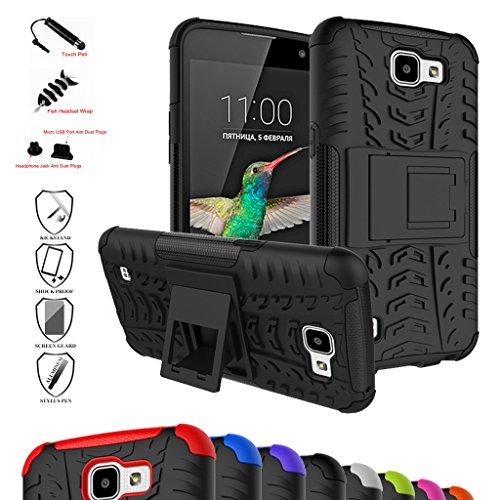 LG K4 / Optimus Zone 3 / LG Spree Funda,Mama Mouth Heavy Duty silicona híbrida con soporte Cáscara de Cubierta Protectora de Doble Capa Funda Caso para LG K4/Optimus Zone 3/LG Spree 2016 Smartphone,Negro