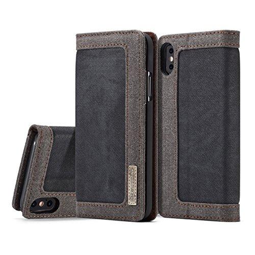 iPhone X Hülle, MKOAWA® iPhone 10 Hülle (5,8 Zoll), [Denim Series Wallet Case] Original Premium Leinwand Flip Folio Denim Hülle für Apple iPhone X 2017 (5,8 Zoll) (Schwarz) -