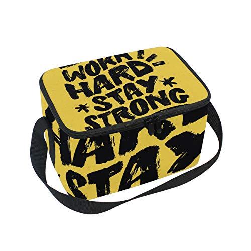 Picknick-Box für Erwachsene, isoliert, große Kühltasche, Thermotasche für Herren, Damen, Bootfahren, Strand, Angeln, Arbeit mit Schultergurt, inspirierende Schrift -