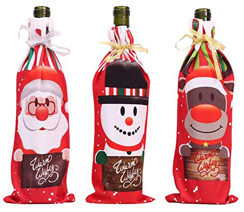 Octubre Elfo Navidad Rojo Botella Vino Bolsa Regalo