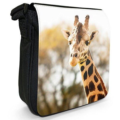 African Giraffe-Borsa a tracolla in tela, piccola, colore: nero, taglia: S Nero (Portrait Of A Giraffe)