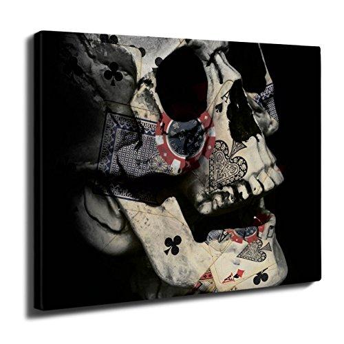 Poker Karte Skelett Schädel indisch Kult Wand Kunst Leinwand 40cm x 30cm | (Kult Filme Besten Halloween)