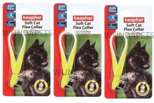 BEAPHAR 3 X REFLECTIVE YELLOW CAT KITTEN FLEA TREATMENT COLLAR WITH BELL 12 MONTH 1 YEAR PROTECTION