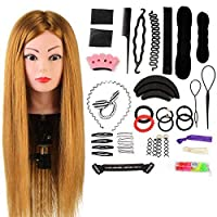 Neverland Beauty 24 Inch Practice Head Hairdressing Head 60% Real Hair Wig Stand Doll Head Training Head with Holder and Hair Styling Braid Set #27