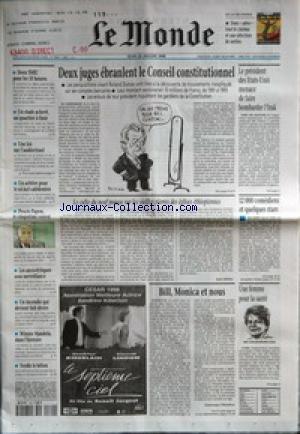 MONDE (LE) [No 16487] du 29/01/1998 - DEUX SMIC POUR LES 35 HEURES - UN STADE ACHEVE, UN QUARTIER A FINIR - UNE LOI SUR L'AUDIOVISUEL - UN ARBITRE POUR LE NICKEL CALEDONIEN - PROCES PAPON, LE CINQUIEME CONVOI - LES ANXIOLYTIQUES SOUS SURVEILLANCE - UN INCENDIE QUI DEVIENT FAIT DIVERS - WINNIE MANDELA DANS L'HISTOIRE - VERDIR LE BETON - DEUX JUGES EBRANLENT LE CONSEIL CONSTITUTIONNEL - LE PRESIDENT DES ETATS-UNIS MENACE DE FAIRE BOMBARDER L'IRAK - LE CULTE DU NEUF POUSSE SUR LES VIEILLES PIERRES