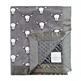 My Blankee Bull's Eye Graphite Minky Dotted Blankets, Charcoal, 14'' x 17'''
