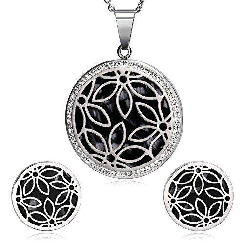 Epinki Damen Schmuck-Set Blumen Schmetterling Cubic Zirkonia Silber Schwarz Halskette Ohrringe Braut Valentinsgeschenk (Zwillinge Kostüm Das Glänzende)
