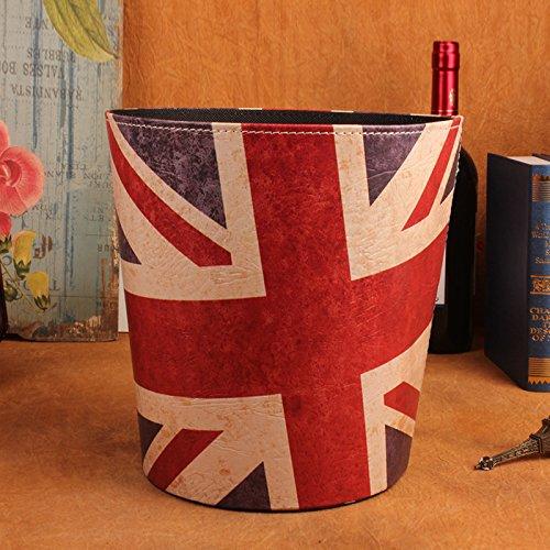 SQbjshaop Europäische Art deckte Mülleimer, kreatives Wohnzimmer, Abfallkorb und Flagge der Staatsflagge auf, Britische Flagge