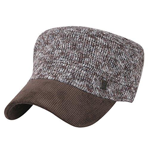 ililily breites und Ausmaß gemischt Farbe gestricktes Produkt Militär Armee Hut klassischer Stil Kadett Cap , Brown (Cap Cotton Knit)