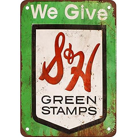 S & H Francobolli Verde, stile Vintage riproduzione in metallo Tin Sign 20,3x 30,5cm